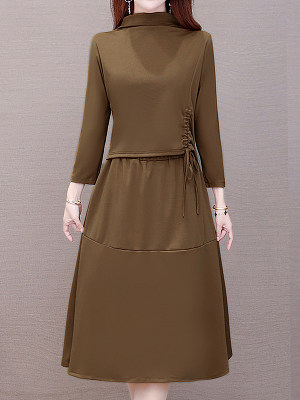 Fake Two Pieces Of Solid Color Stitching A-line Dress, 25320410