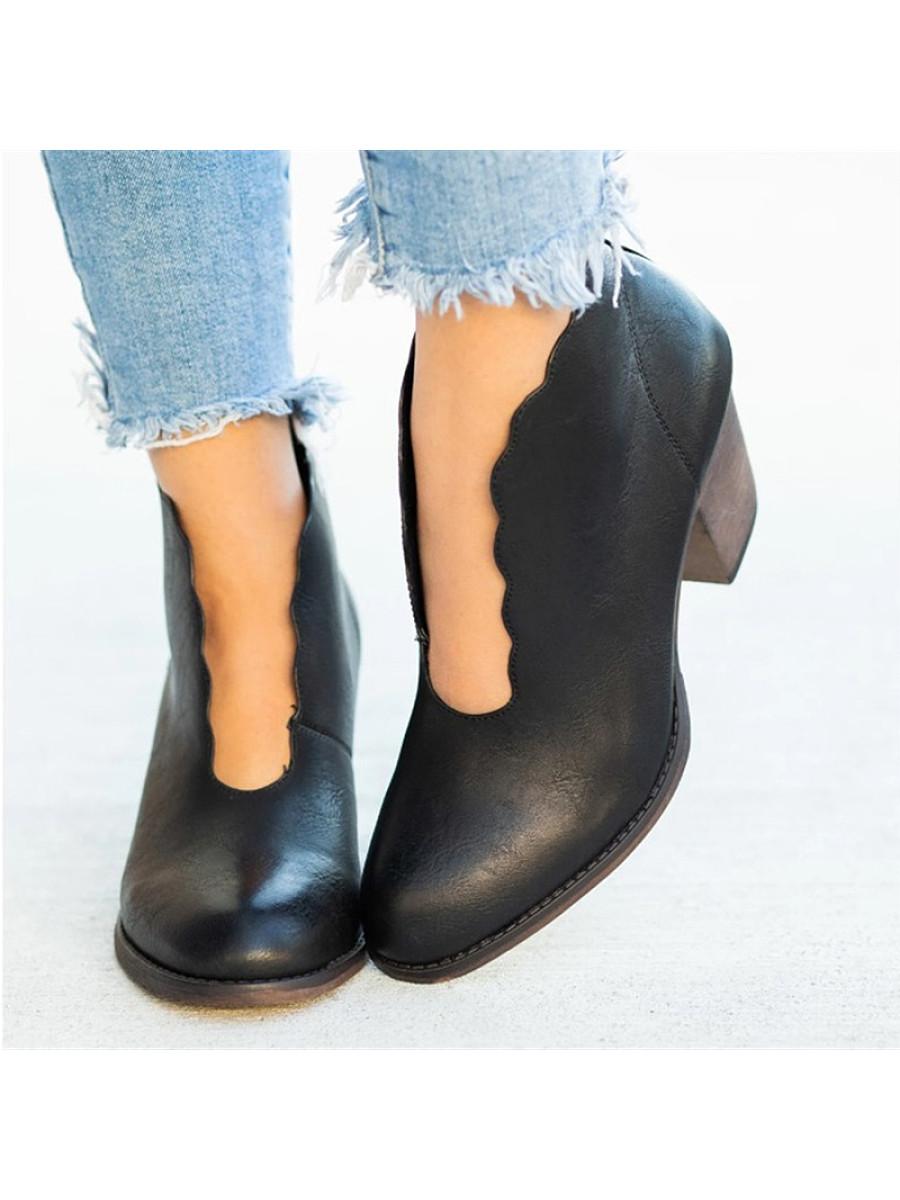 Women's Fashion Leopard Block Heel Booties