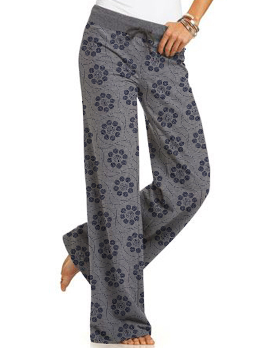Casual lace-up sports printed trousers