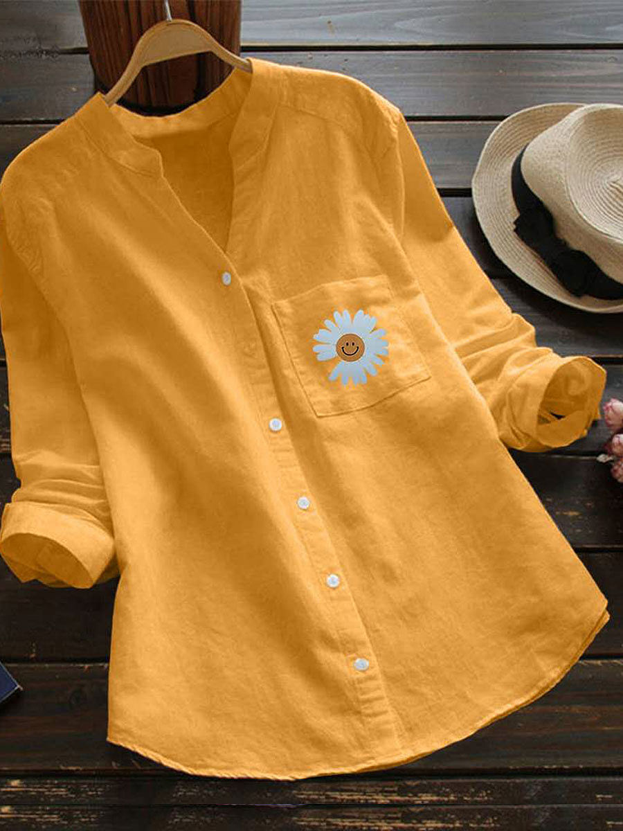 Casual Cotton And Linen Daisy Printed Long-Sleeved Blouse