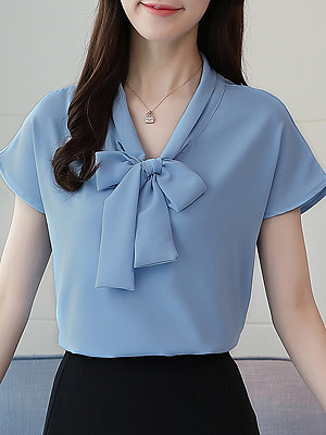 Tie Collar Plain Short Sleeve Blouse, 11602259