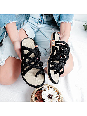Berrylook Women Casual Solid Color Flat Weave Sandals clothing stores, cheap online shopping sites, Solid Sandals,