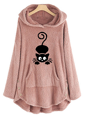 Women's pullover fleece embroidered sweatshirt gender:female, season:autumn,winter,spring, texture:polyester, pattern_type:printing, sleeve_length:long sleeve, sleeve_type:regular sleeve, style:japan and south korea, collar_type:hat collar, dress_occasion:daily, bust:140,clothing length:79,shoulder width:46,