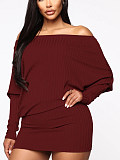 Image of Casual Long Sleeve Pure Colour Sweater dress