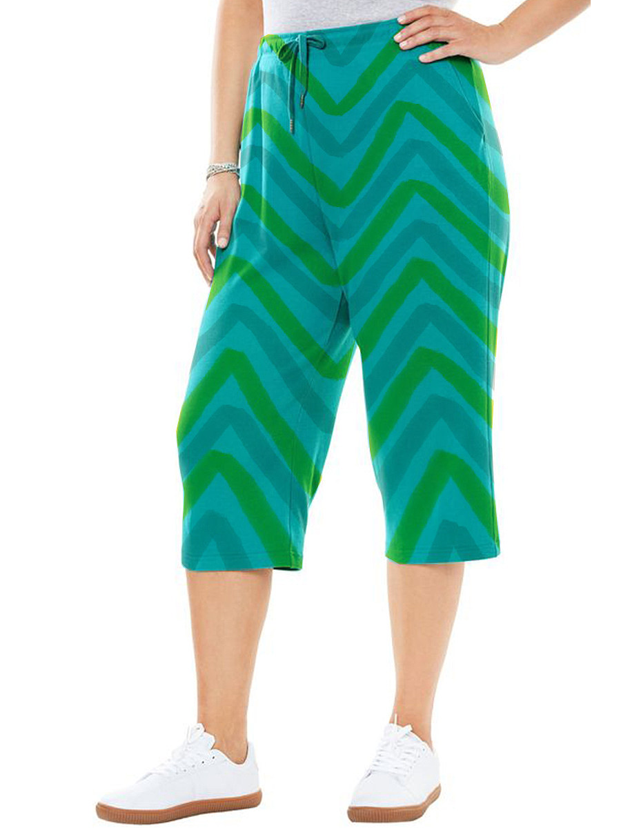 BerryLook Fresh pop style printed striped cropped trousers