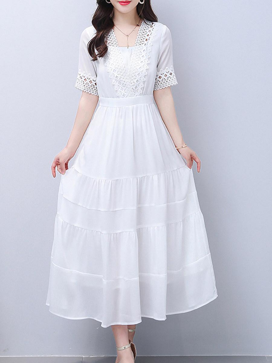 Round Neck Print Maxi Dress