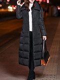 Image of Mid-length lengthened knee-length thick hooded cotton coat