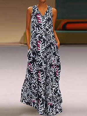 V- Neck Patch Pocket Floral Printed Maxi Dress фото