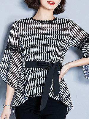 Round Neck Printed Bell Sleeve Blouse, 11085882