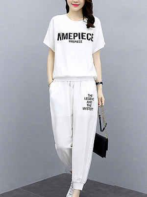 Berrylook coupon: Round Neck Short Sleeve Letter Printing Casual Suit