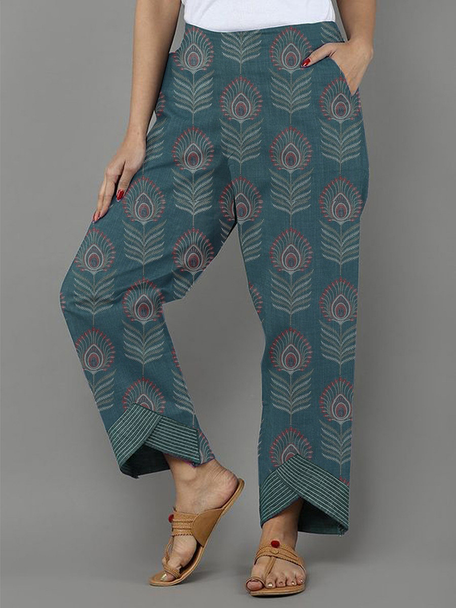 Fashion printed closed cotton and linen slacks
