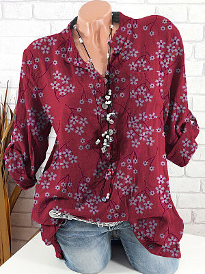 Band Collar Floral Print Long Sleeve Blouse, 24565685