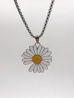 Small Daisy Lightning Metal Necklace