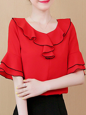 Round Neck Patchwork Bell Sleeve Blouse, 11335156