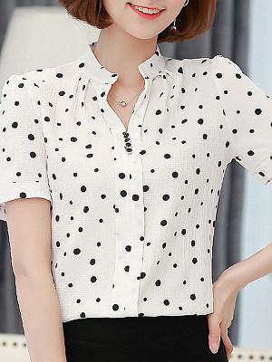V Neck Printed Short Sleeve Blouse, 11332426