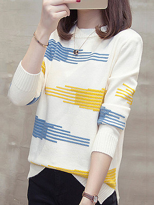 Round Neck Elegant Printed Long Sleeve Knit Pullover фото
