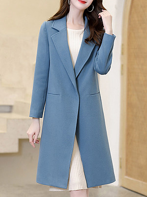 Fashion solid color lapel long-sleeved single-breasted long woolen coat, 10724871