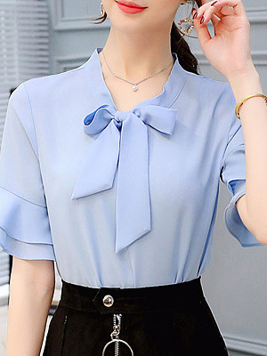 Tie Collar Plain Bell Sleeve Short Sleeve Blouse, 11165069