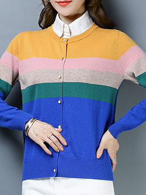 Round Neck Single-breasted Long Sleeve Coloring Knit Cardigan фото