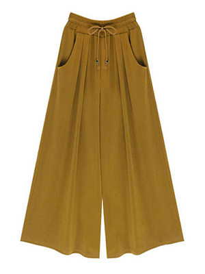 Women Plain Casual Wide Leg Pants фото