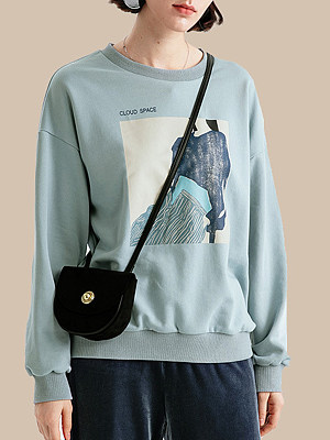 Printed loose sweatshirt фото