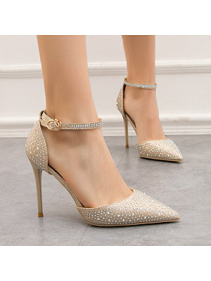 Women's Fashion Solid Color Hollow Pointed High Heels, 11058823
