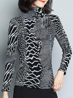 Heap Collar Elegant Printed Long Sleeve T-Shirt, 10312691