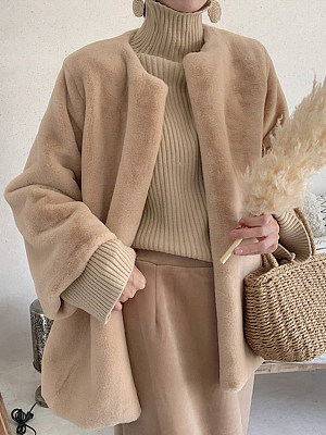 Fashion Simple Plush Warm Faux Fur Coat