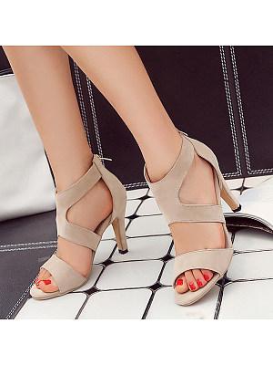 Fashion Suede Open Toe High Heel Sandals, 11167460