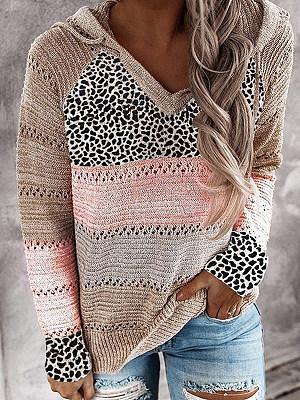 Fashion Color Block Leopard Striped Sweater