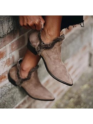 berrylook Vintage Women Pointed Toe Solid Color Ankle Boots