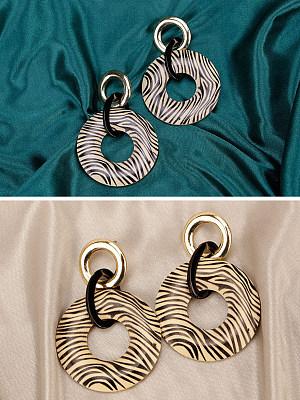 Boho style zebra print wood earrings