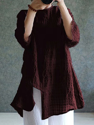 Round Neck Plaid Short Sleeve Linen Blouse фото