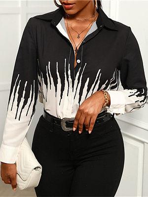 Temperament lapel retro print long-sleeved shirt, 27532139, BERRYLOOK  - buy with discount
