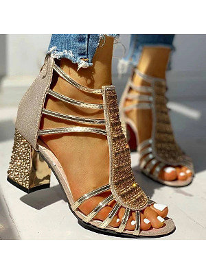 Women's fashion sandals with chunky heels фото