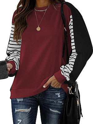 Women's Round Neck Striped Patchwork Long Sleeve T-shirt, 25315481