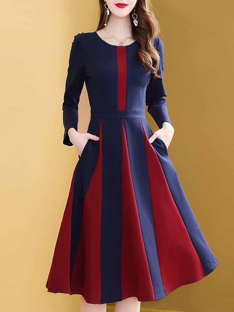 Casual Long Sleeve Colouring maxi Dress - from $28.95