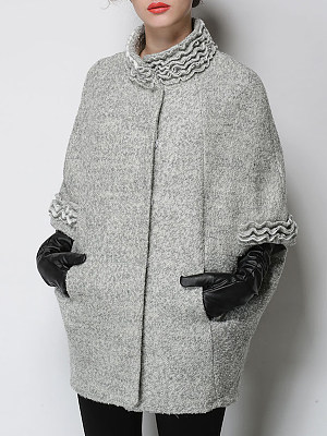 Women's Fashion Bat Cloak Coat gender:female, colour:gray, season:autumn,winter,spring, collar:collar, texture:polyester, sleeve_length:long sleeve, style:japan and south korea, dress_occasion:daily, bust:100,clothing length:82,