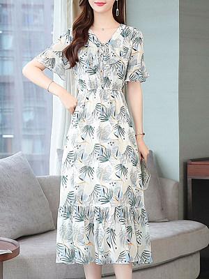 V-Neck Stylish Short Sleeve Printed Maxi Dress, 23684663