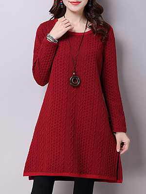 Women's Literary Warm Solid Color Dress, 10712736