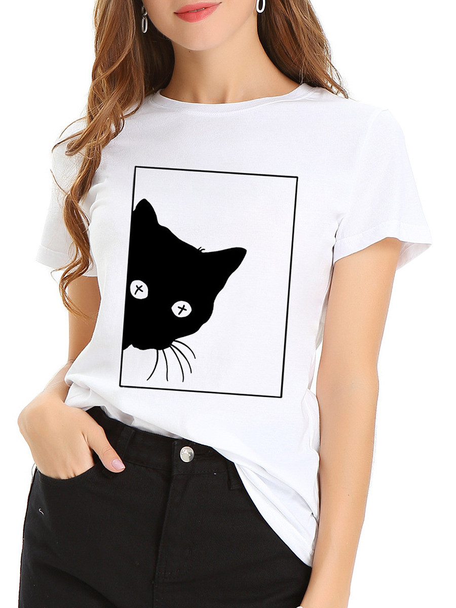 100% Cotton Round Neck Cat Printed Short Sleeve T-shirt