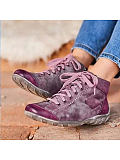 Image of Comfortable wedge heel casual lace-up ankle boots