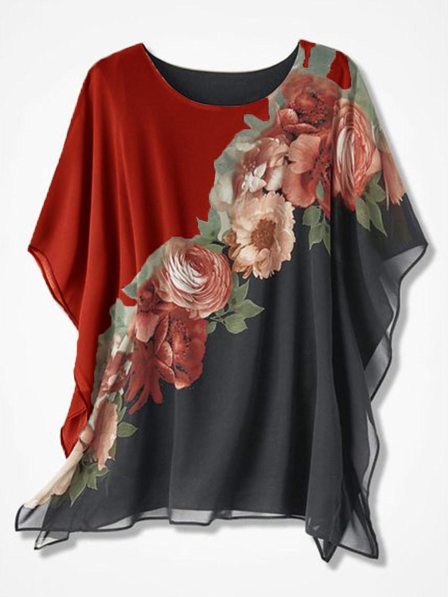 Round Neck Print Short Sleeve Blouse