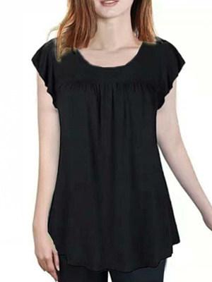 Round Neck Plain Short Sleeve T-shirt, 11580666