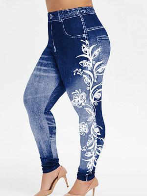 Large size high-waist denim-like lace stitching printed stretch leggings, 25616512