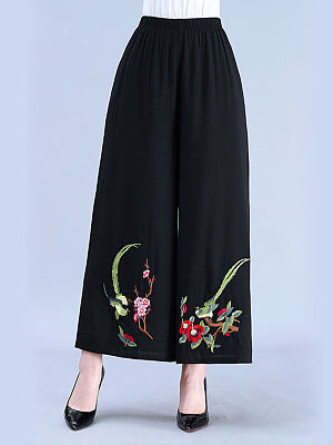 Cotton and linen retro embroidery elastic waist cropped trousers