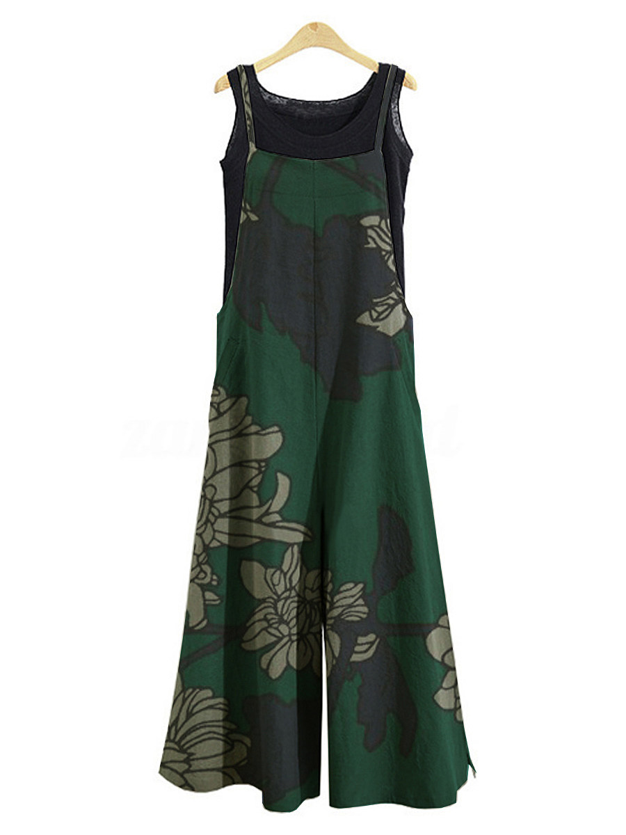 Fashion printed cotton and linen overalls