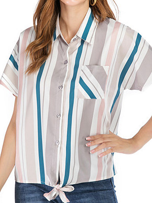 Turn Down collar Striped Loose Fitting Short Sleeve Blouse, 11280152