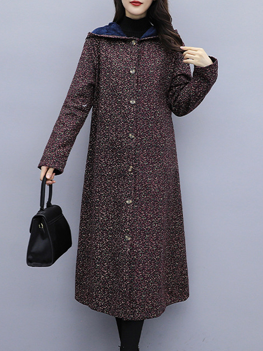 Casual Hooded Floral Printed Overcoat - from $33.95