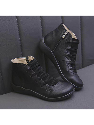 BERRYLOOK Women's Fashion Solid Color Side Zipper Boots